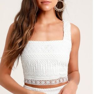 Romance Forever White Crochet Lace Crop Top